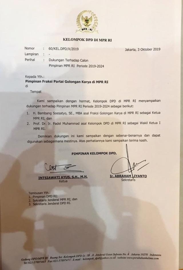 Dukungan DPD untuk Bambang Soesatyo Ketua MPR (NOTCOV)