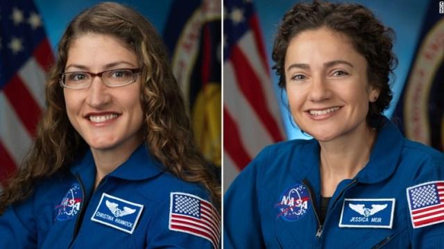 Astronaut perempuan Christina Koch (kiri) dan Jessica Meir. Foto: NASA
