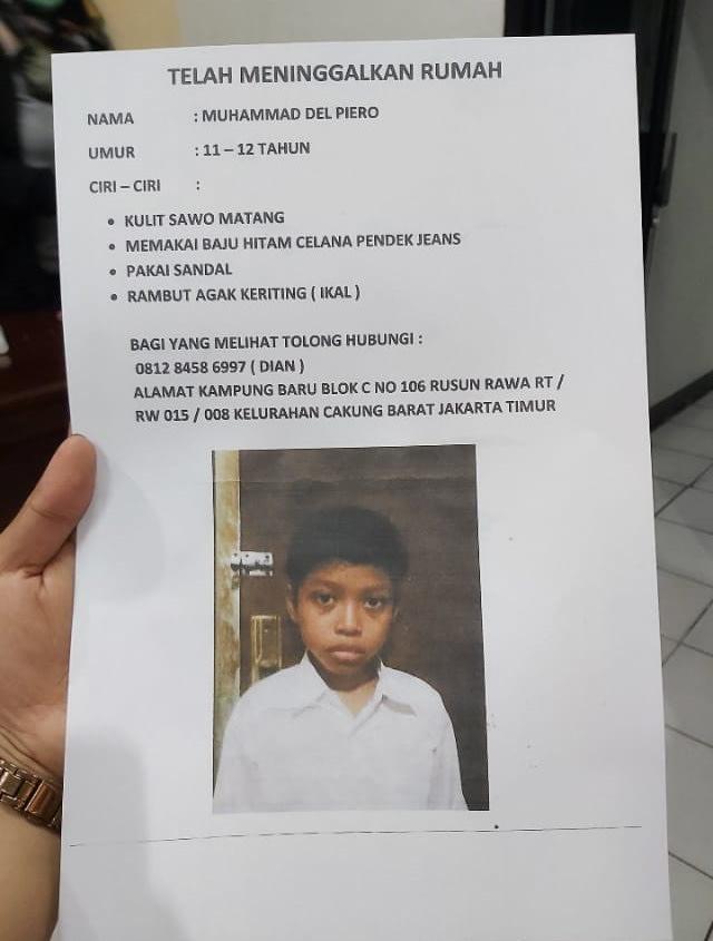 Del Piero, Warga Jakarta Timur, Hilang Sejak Sebulan yang Lalu  (102832)