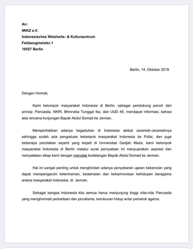 Surat pernyataan masyarakat Indonesia di Berlin