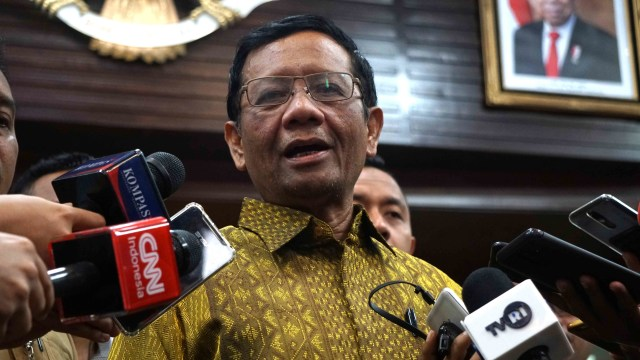 Menko Polhukam Mahfud MD usai Rapat Paripurna Tingkat Menteri di Kemenko Polhukam, Jakarta