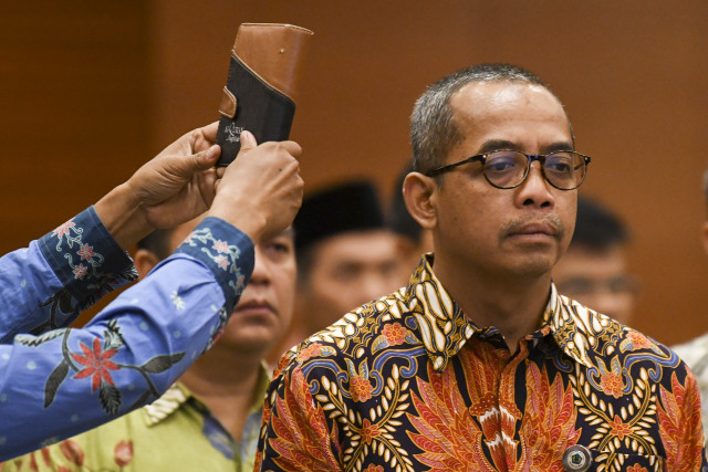 Sumpah jabatan Direktur Jenderal (Dirjen) Pajak yang baru Suryo Utomo di Kementerian Keuangan Jakarta, Jumat (1/11/2019)