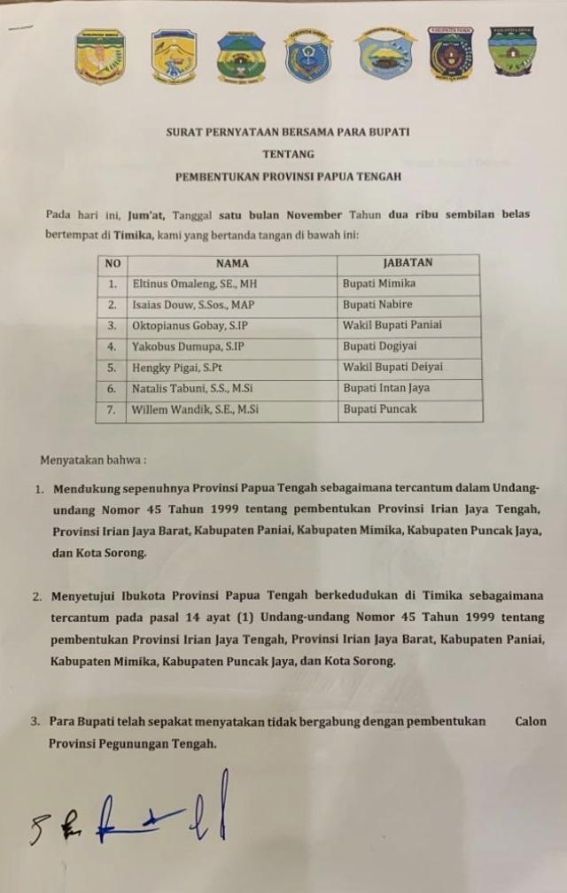 POTRAIT, Surat kesepahaman, Provinsi Papua Tengah