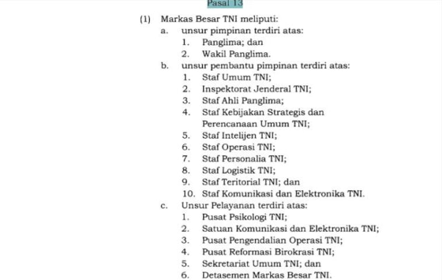 Perpres No. 66 Tahun 2019 tentang Posisi Wakil Panglima TNI