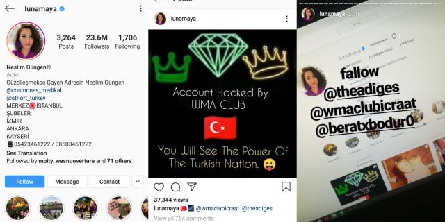 Screen shot akun Instagram Luna Maya yang di-hack