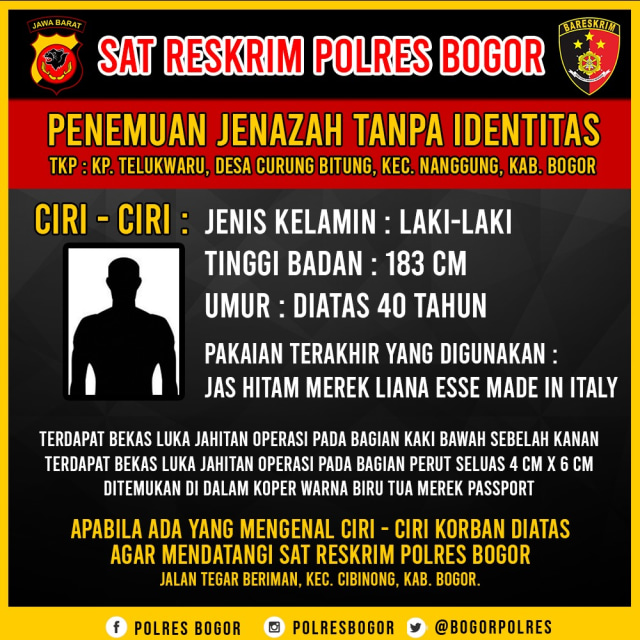 Ciri-ciri mayat dalam koper di Bogor