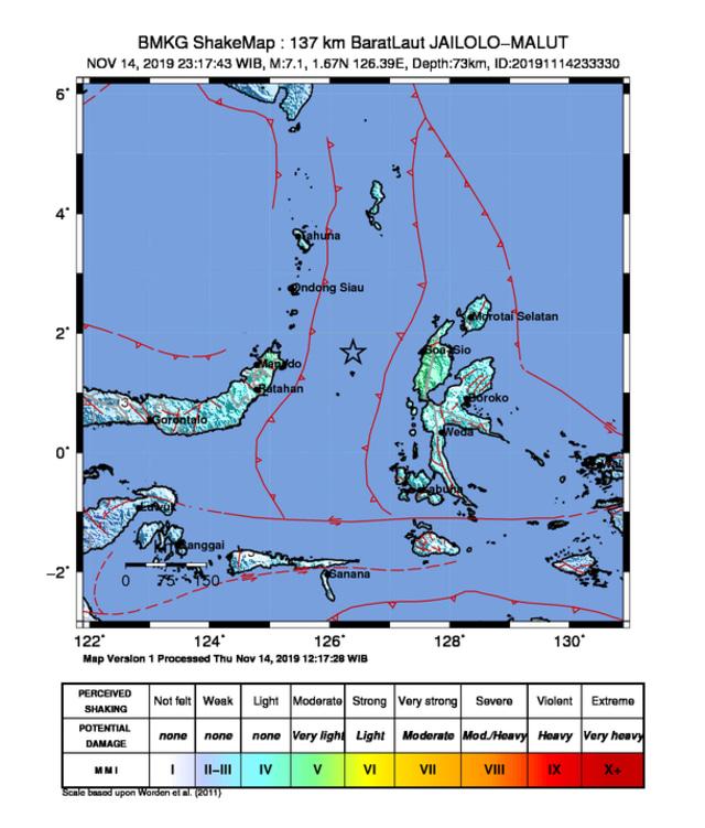 Peta guncangan di Maluku Utara