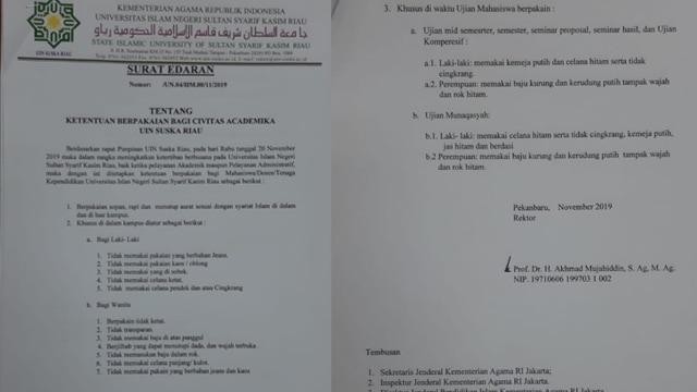 Surat Edaran Rektor UIN Suska Larang Cingkrang dan Cadar.jpg
