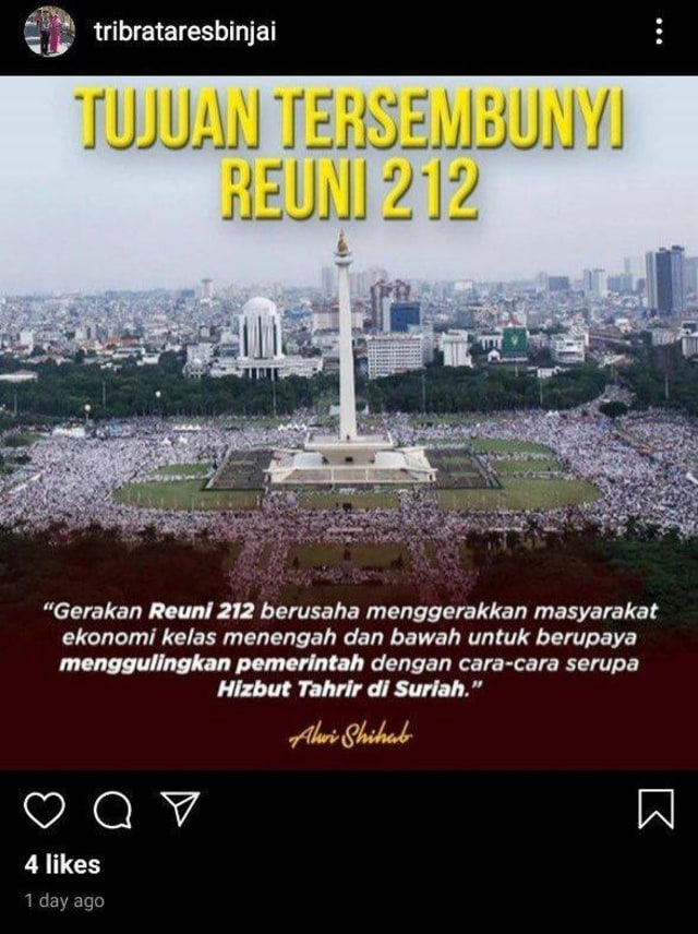 Unggahan instagram Polres Binjai terkait Reuni 212
