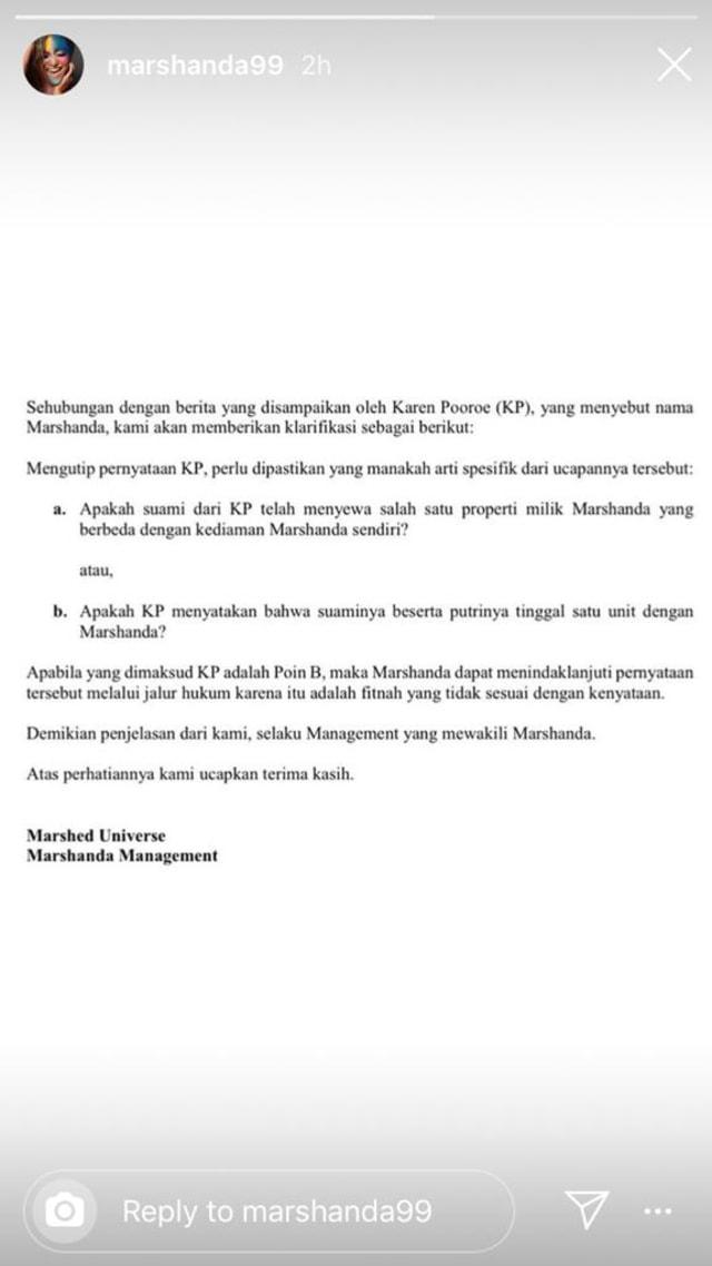PTR, Klarifikasi pihak manajemen Marshanda
