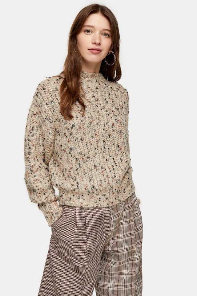 Topshop - Knitted Textured Neppy Pointelle Jumper