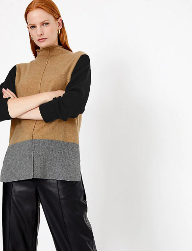 Marks & Spencer - Pure Cashmere Colour Block Jumper