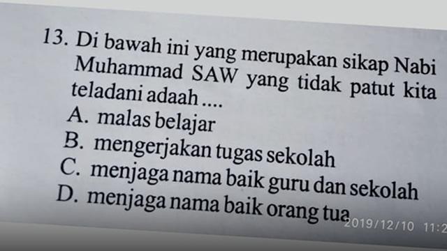 Soal Ujian SD di Kabupaten Solok Diduga Hina Nabi Muhammad SAW (8380)