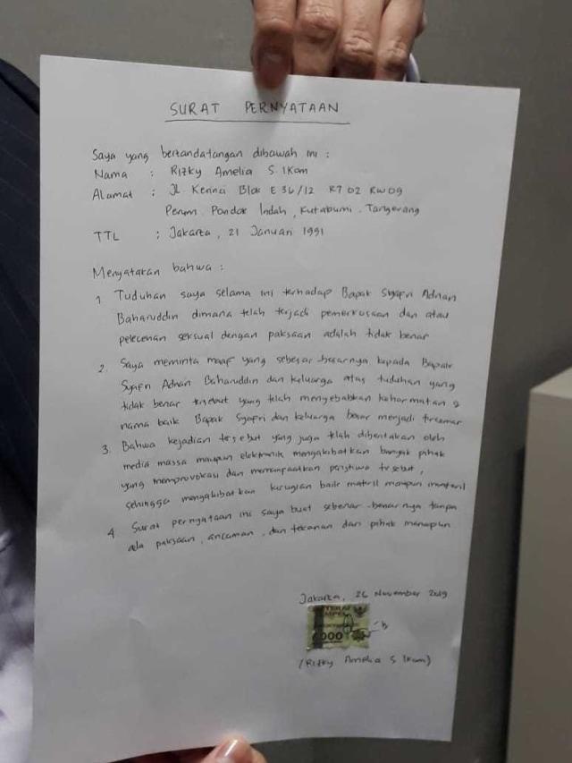 PTR, Surat pernyataan Rizky Amelia