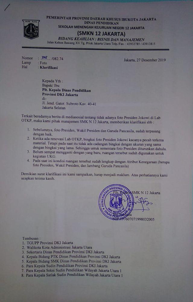 PTR, Surat Klarifikasi SMKN 12