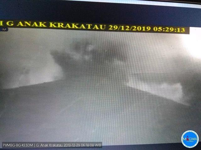 rekaman CCTV Gunung anak krakatau