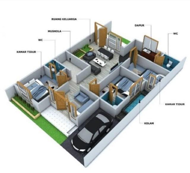 contoh rumah 3 kamar tidur