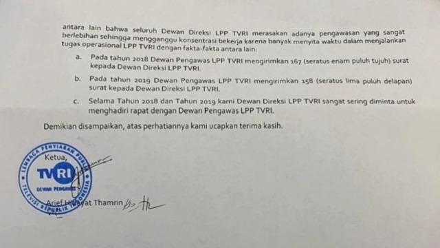 Surat pemecatan Helmy Yahya dari TVRI