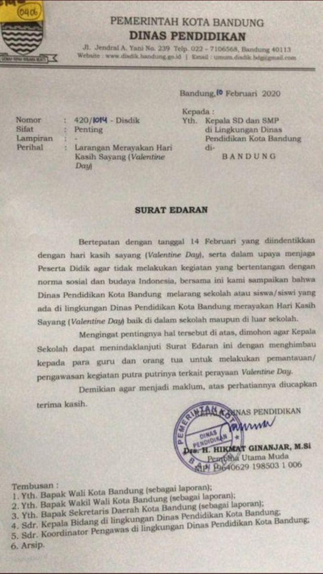 Surat edaran larangan Valentine Disdik Bandung