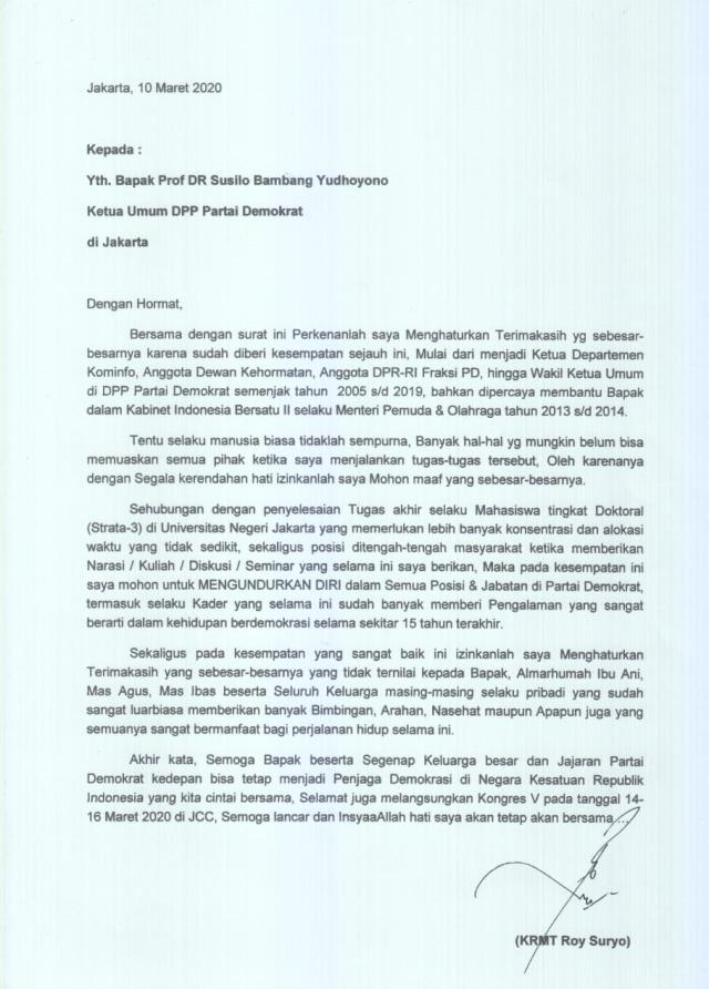 Surat pengunduran diri Roy Suryo dari Demokra