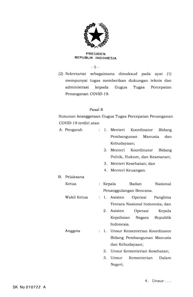 Jokowi Terbitkan Keppres Nomor 7 Tahun 2020 Tentang Gugus Penanganan Corona (9124)