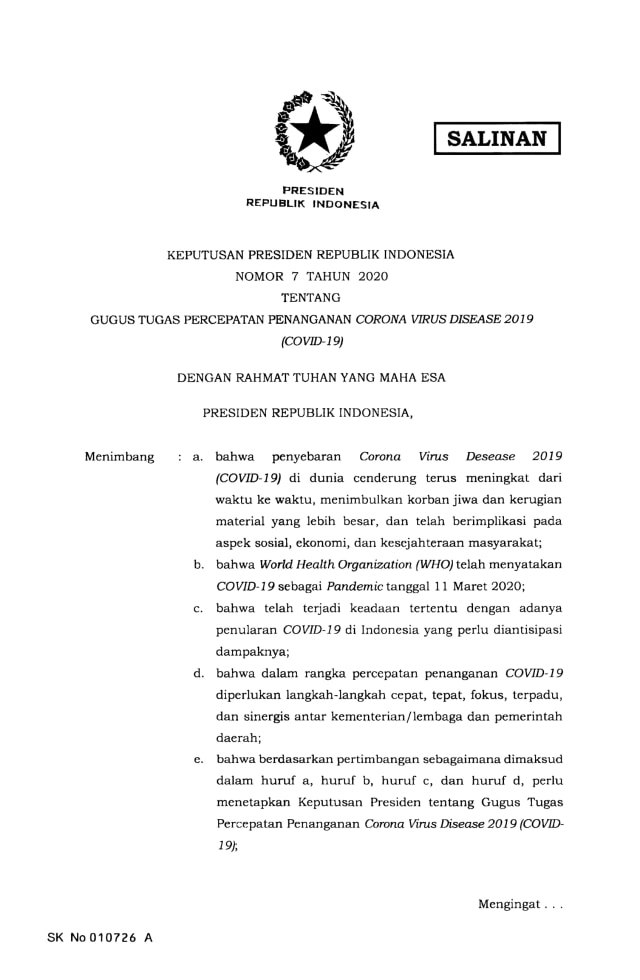 Jokowi Terbitkan Keppres Nomor 7 Tahun 2020 Tentang Gugus Penanganan Corona (9120)