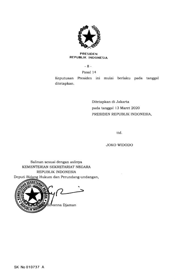 Jokowi Terbitkan Keppres Nomor 7 Tahun 2020 Tentang Gugus Penanganan Corona (9127)