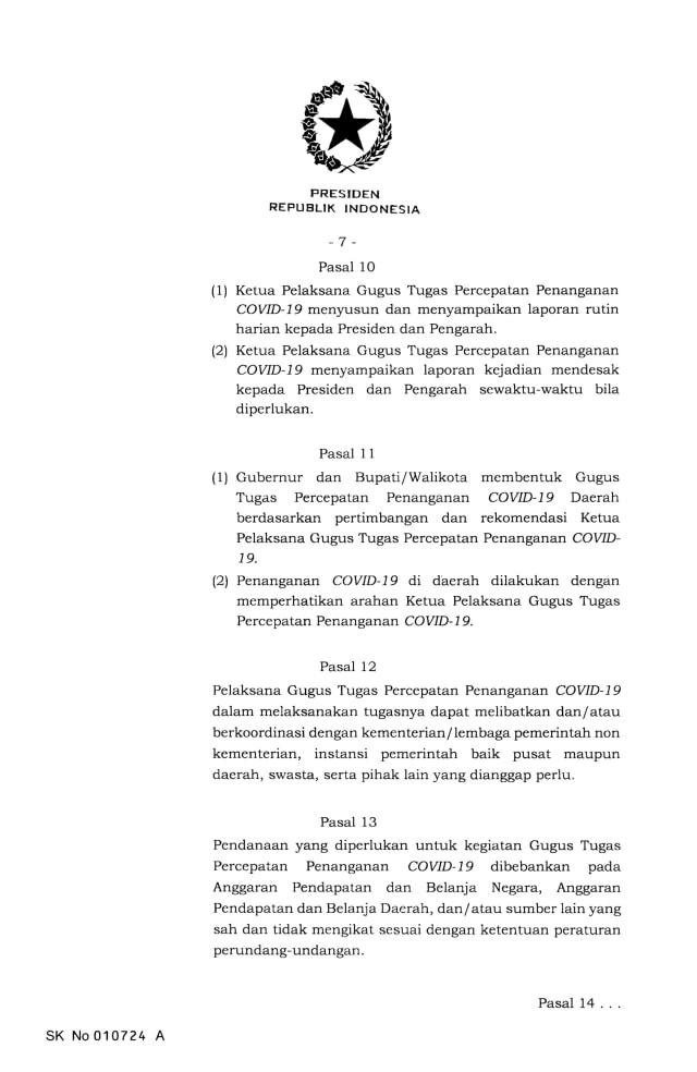 Jokowi Terbitkan Keppres Nomor 7 Tahun 2020 Tentang Gugus Penanganan Corona (9126)