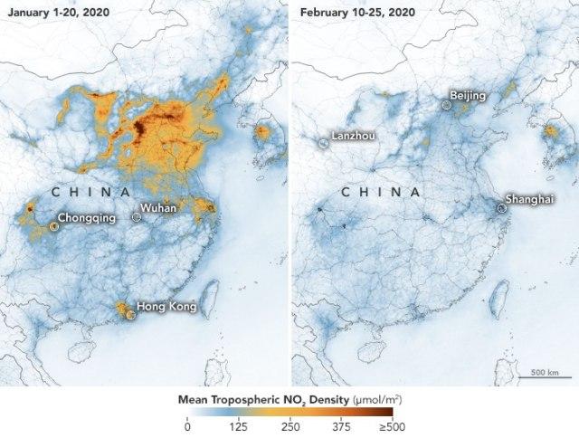Beda kadar polusi di China sebelum dan sesudah corona
