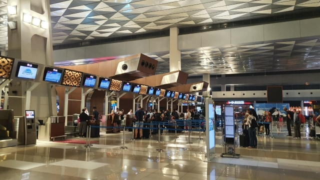 Suasana sepi di Bandara Soekarno-Hatta