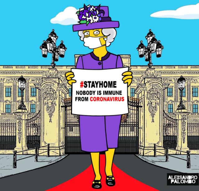 Gambar Kartun Unik Keluarga Kerajaan Inggris untuk Kampanyekan Social Distancing (284924)