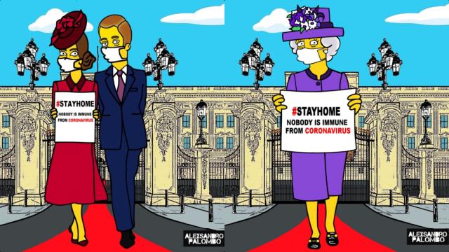 Gambar Kartun Unik Keluarga Kerajaan Inggris untuk Kampanyekan Social Distancing (284922)