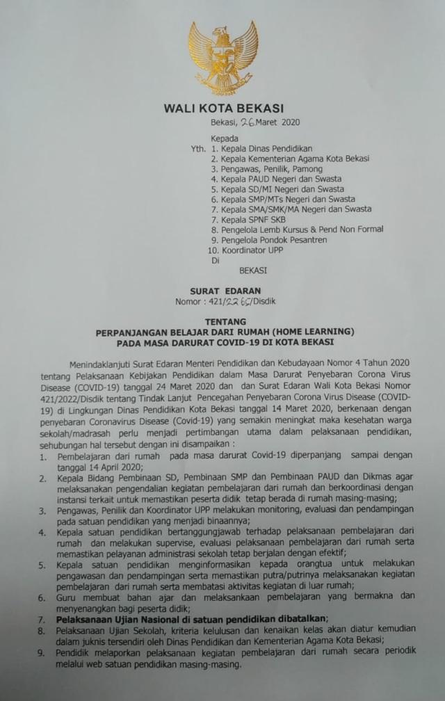 Surat Edaran Wali Kota Bekasi mengenai masa perpanjangan