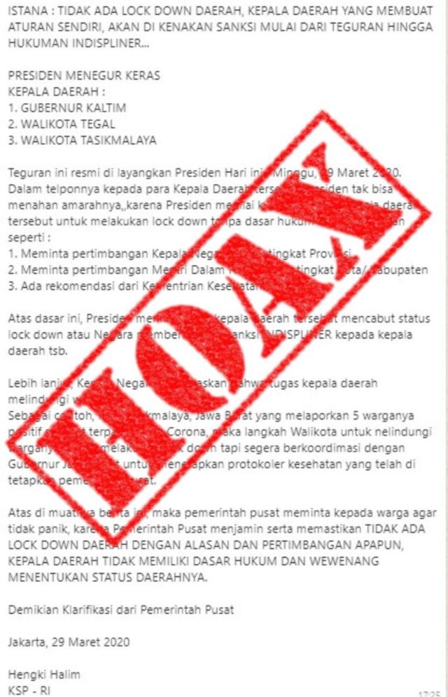 Hoaxbuster: Tak Ada Sanksi Bagi Kepala Daerah yang Terapkan Kebijakan Lockdown (1288820)