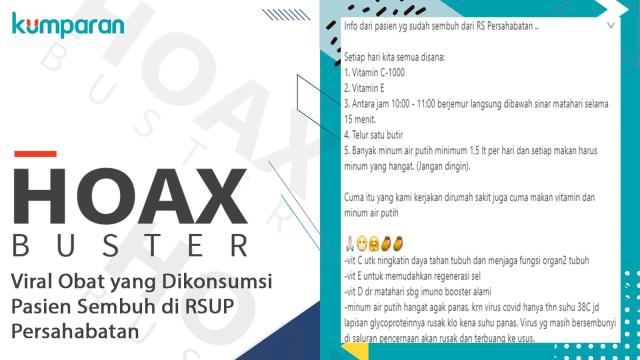 HoaxBuster: Viral Obat yang Dikonsumsi Pasien Corona Sembuh di RSUP Persahabatan (137746)