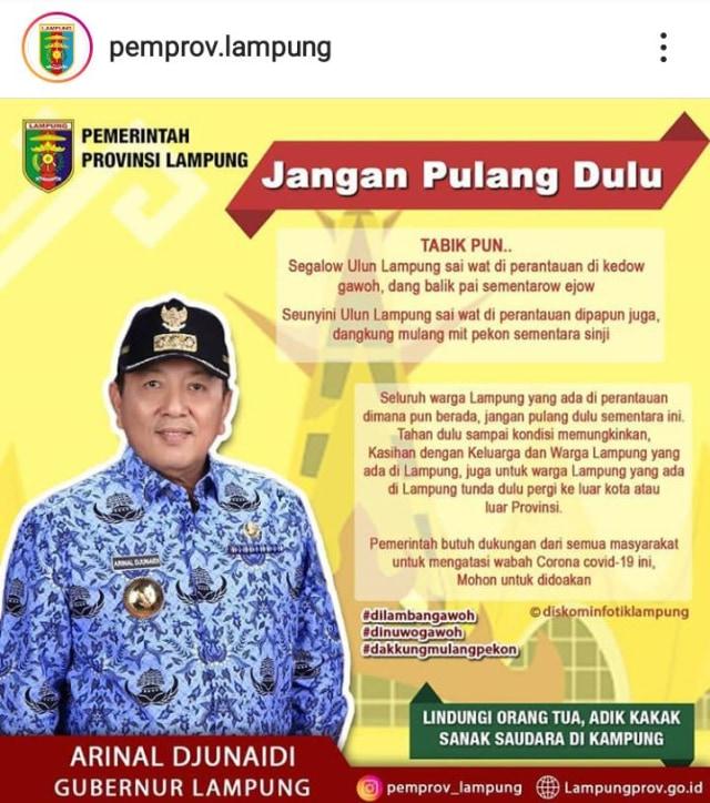 Pemprov Lampung soal Poster Gubernur Menyambut Perantau yang Mudik: Hoaks (128219)