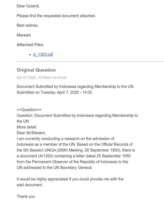 Mencari Surat Pengajuan Permohonan Keanggotaan Indonesia ke PBB (136383)