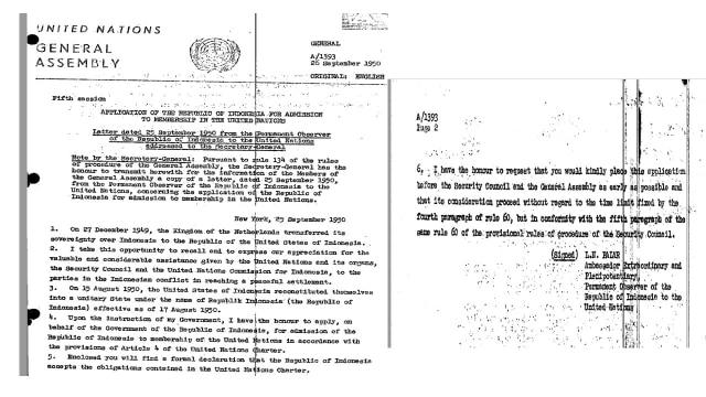 Mencari Surat Pengajuan Permohonan Keanggotaan Indonesia ke PBB (136384)