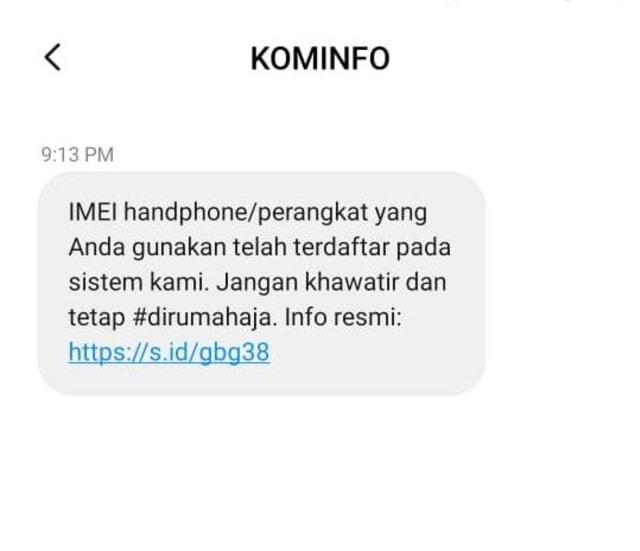 Waspada Jebakan SMS 'IMEI HP Tidak Terdaftar' dari Nomor Kominfo Palsu (12786)