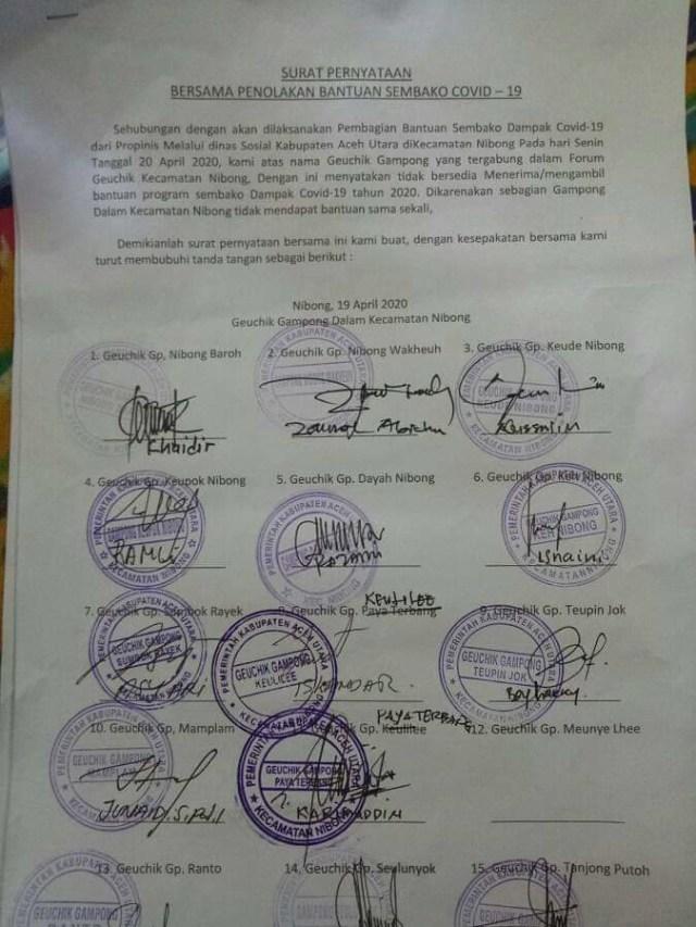 Para Keuchik di Kecamatan Nibong, Aceh Utara Sepakat Tolak Bantuan COVID-19  (43434)