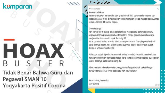 Hoaxbuster: Tidak Benar Petugas Kebersihan SMAN 10 Yogyakarta Positif Corona (223956)