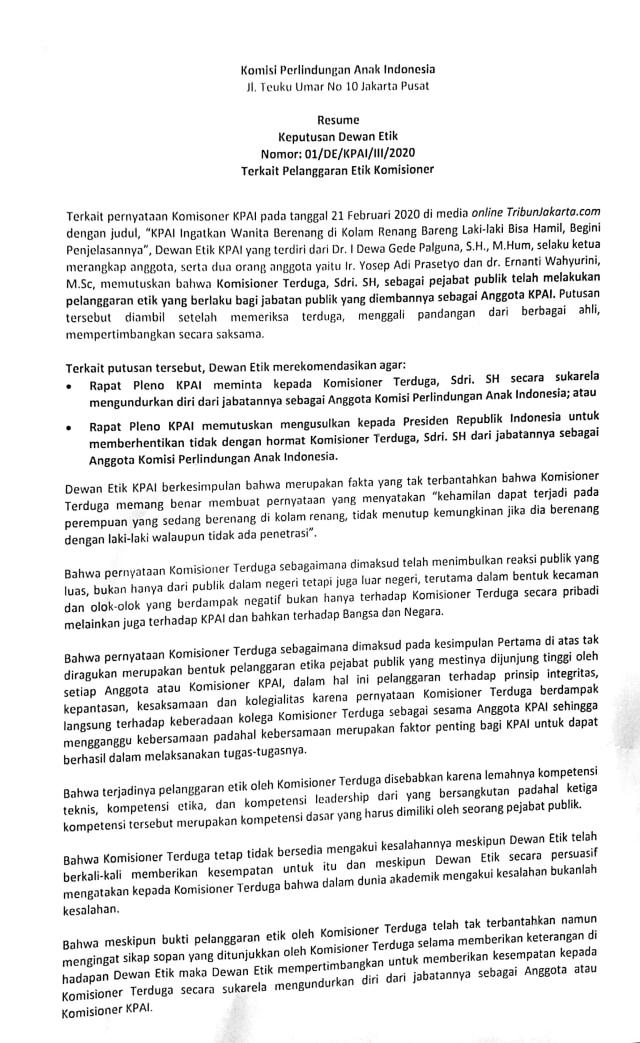 Terkait Kolam Renang, Dewan Etik KPAI Minta Sitti Mundur atau Diberhentikan (24081)