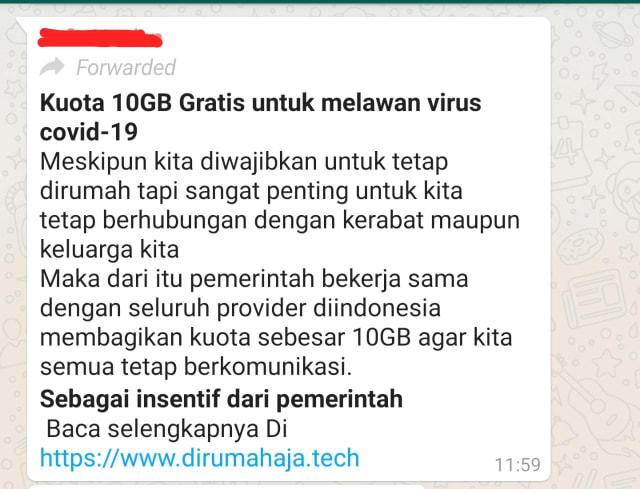Viral Di Whatsapp Pemerintah Beri Kuota Gratis 10 Gb Ini Faktanya