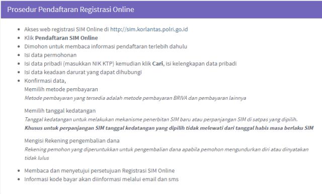 Panduan pendaftaran membuat SIM secara online.