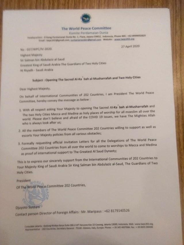 Viral Djuyoto Suntani, Presiden Perdamaian Dunia yang Minta PSBB Disetop (276015)