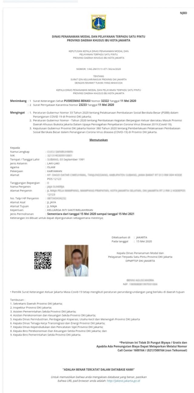 Mau Keluar Masuk Psbb Jakarta Ini Cara Bikin Surat Izinnya Secara Online Kumparan Com