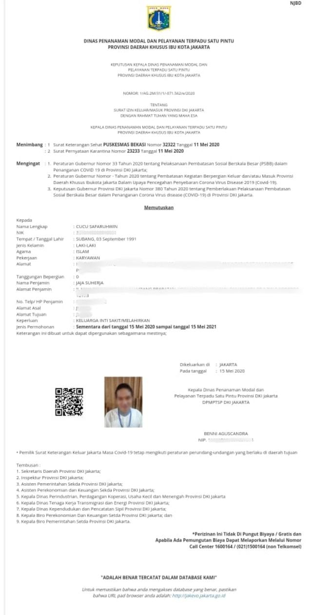 Begini Cara Bikin Surat Izin Keluar Masuk Psbb Jakarta Secara Online Kumparan Com