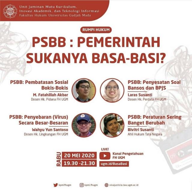 FH UGM Gelar Diskusi Bertajuk PSBB: Pemerintah Sukanya Basa-Basi? (1364)
