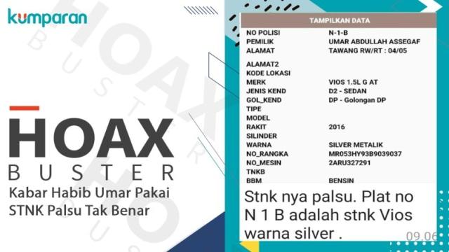 Hoaxbuster: Kabar Habib Umar Assegaf Pakai STNK Palsu Tak Benar (110892)