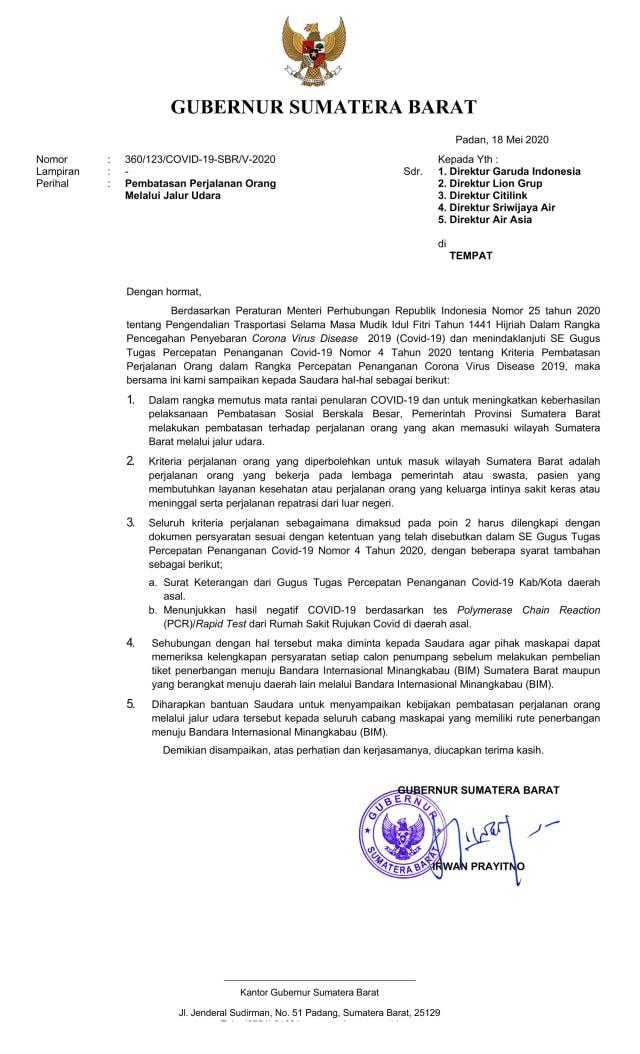 Gubernur Sumbar Wajibkan Penumpang Pesawat Punya Sertifikat Negatif Corona Kumparan Com